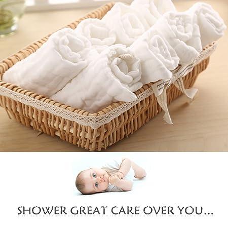 Amazon.com : Baby Muslin Washcloths- Natural Muslin Cotton Baby ...
