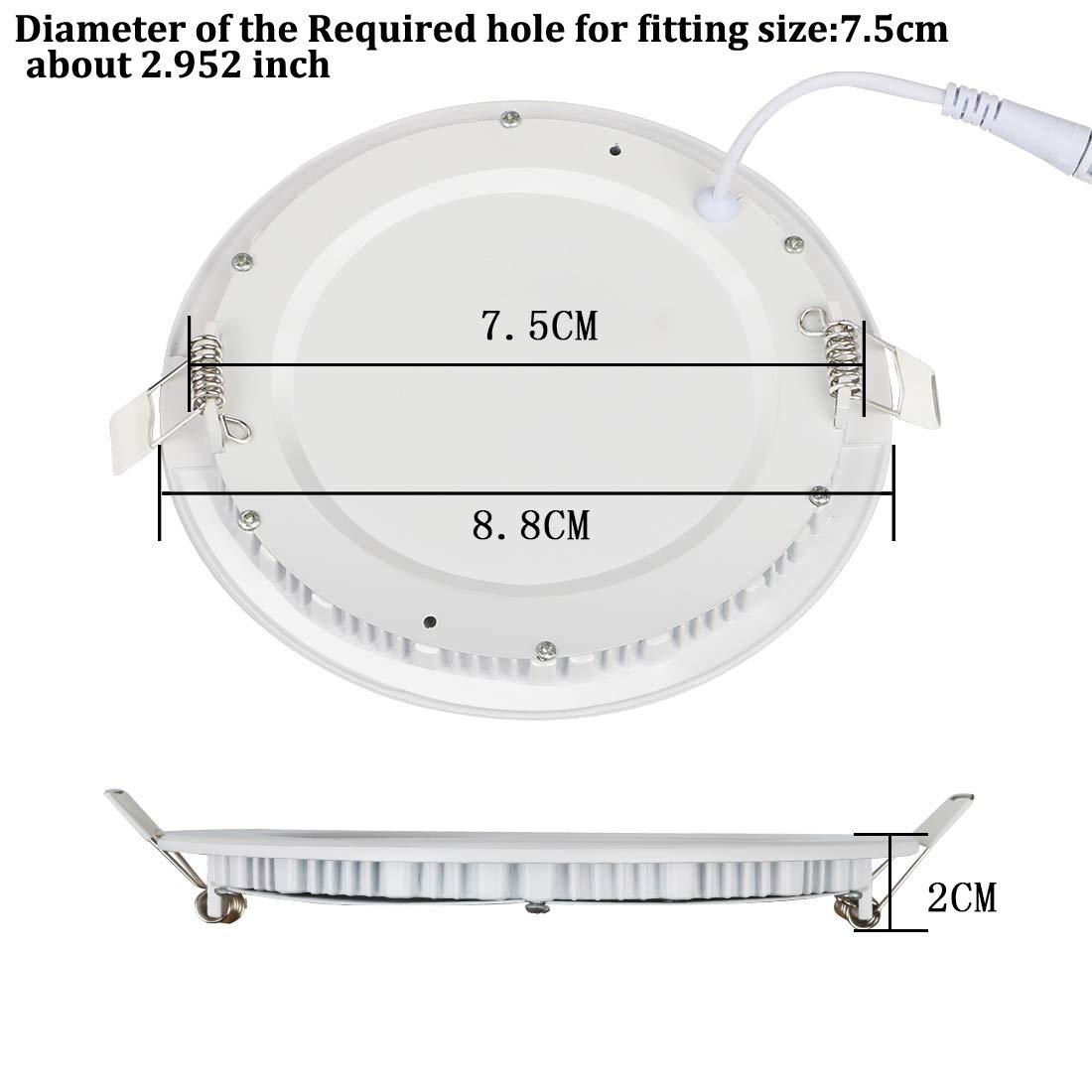 2PACK LED Deckenleuchte LED Panellampe Einbaustrahler Einbauleuchten Round 3W 4000K Neutral White LED Downlight Ultra schlanke Lampe Scheinwerfer f/ür K/üche Bad Gang Lochgr/ö/ße 7.5CM