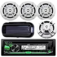 JVC KD-R97MBS Marine Yacht Bluetooth CD MP3 SiriusXM Ready Stereo Player Receiver Bundle Combo With 4x Kenwood 6.5 Inch 200-Watt 2 Way Boat Audio Speakers, Enrock Waterproof Stereo Protective Cover