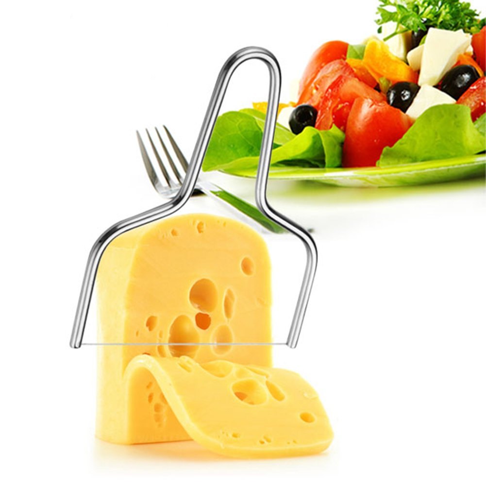 Liitrton Handheld Stainless Steel Cheese Plane Slicer with Wire Blade for Semi Hard and Hard Cheese