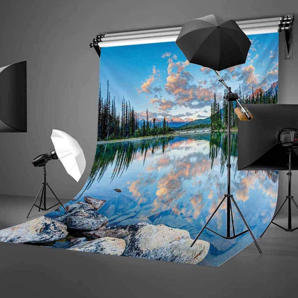 Long View of Golden Sunrise Skyline at Pyramid Lake Tranquility Canadian Scenery Background for Photography Kids Adult Photo Booth Video Shoot Vinyl Studio Props Nature 10x12 FT Photography Backdrop