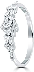 Carat craft Trendy White Gold Baguette Diamond Engagement Ring-6.5US