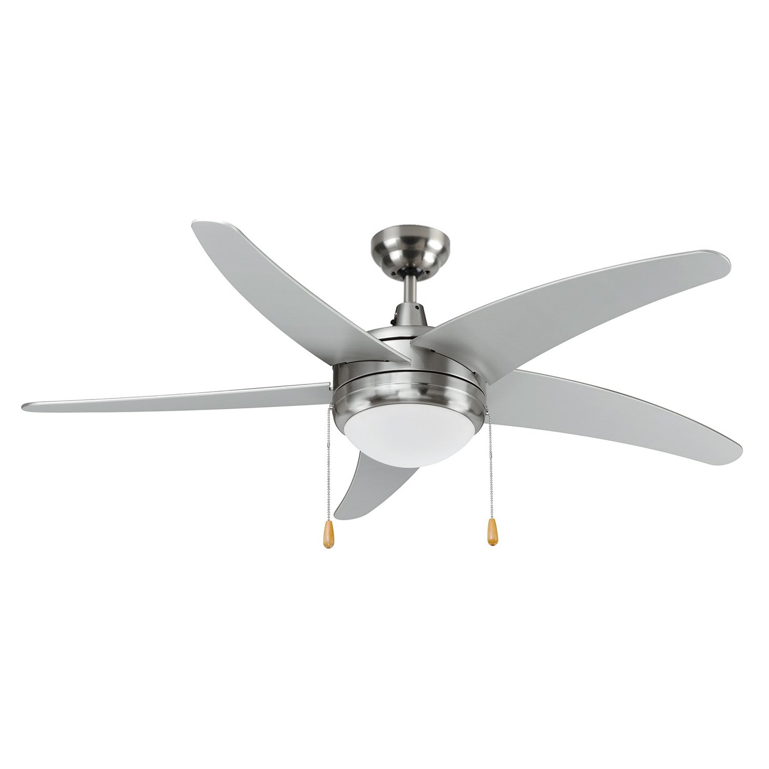 LB92103 LED Ceiling Fan, 50-Inch 5 Blade Curved, Brushed Nickel, 15W (65W equivalent), 3000K Warm White, 120° Beam Angle, 1000 Lumens, ETL & DLC Listed by Light Blue USA