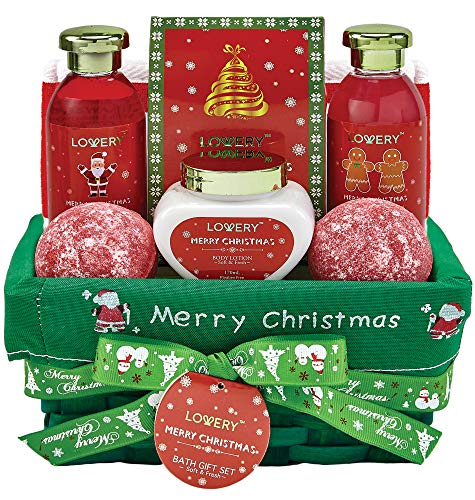Strawberry Home Fragrance - Bath and Body Christmas Gift Basket For Women – Strawberry & Sandalwood Fragrance - Holiday Home Spa Set, Includes Merry Christmas Body Lotion, 2 Oversized Bath Bombs, Bath Salt, Weaved Basket & More