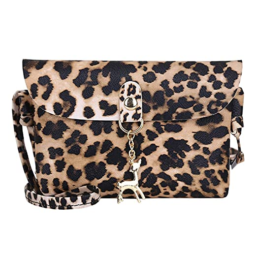 5286f0b882a1 Amazon.com: Womens Leather Crossbody Bag Leopard Print Shoulder Bags ...