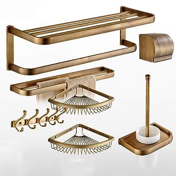 LifeX Juego de accesorios de baño de bronce de 7 piezas Montaje en pared Herrajes de ...