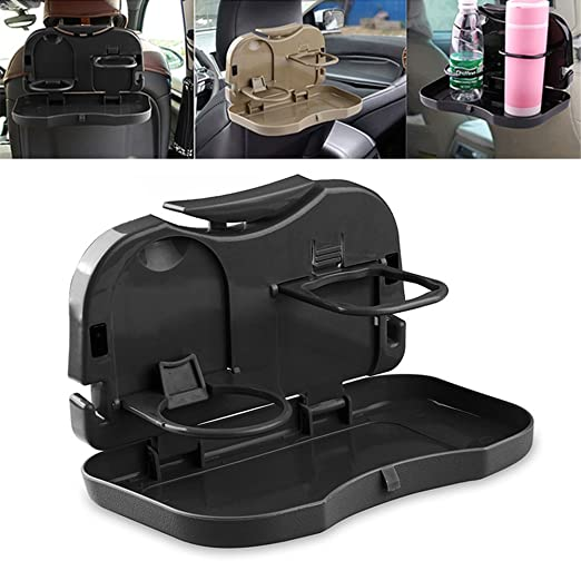 Dubens Car Back Seat Drink Meal Car Back Seat Organizer With Fold Out Dining Table Back Seat Hanging Cup Holder Black Auto