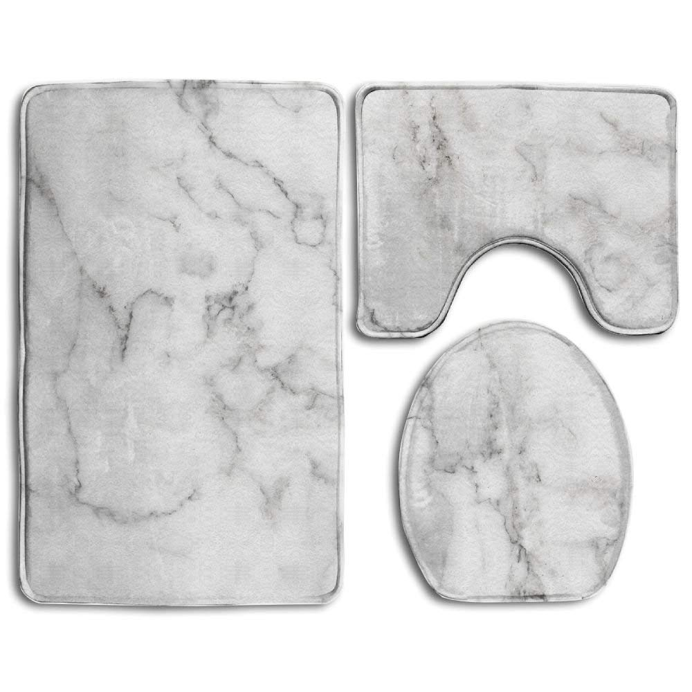 Natural White Marble Texture Background Skin Tile Wall Luxurious Picture High Resolution Bathroom Rug 3 Piece Bath Mat Set Contour Rug Lid Cover