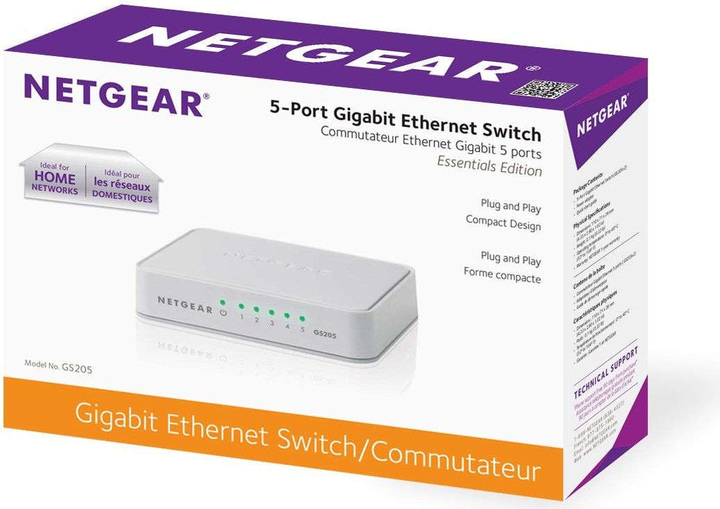 NETGEAR 5Port Gigabit Ethernet Unmanaged Switch Desktop 101001000Mbps GS205