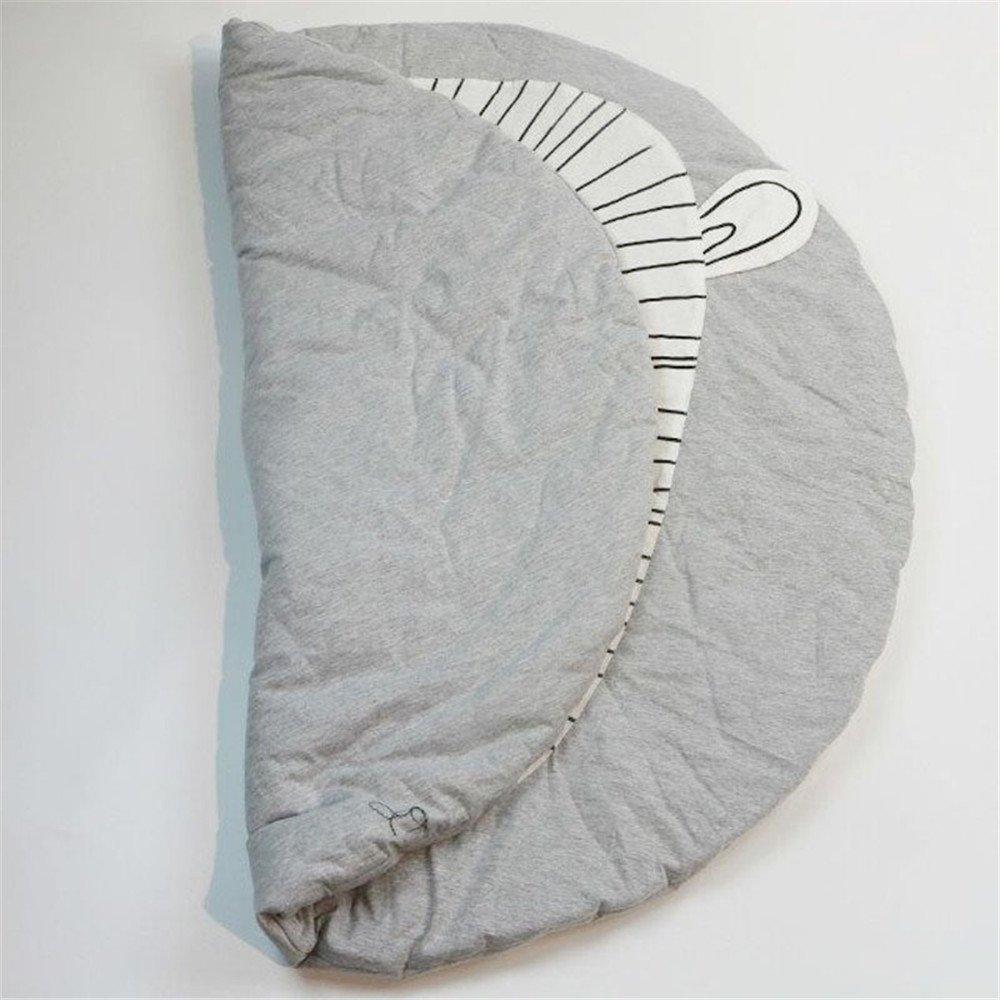 Kess InHouse Pom Graphic Design Elephant Play Orange Animal Print Round Beach Towel Blanket