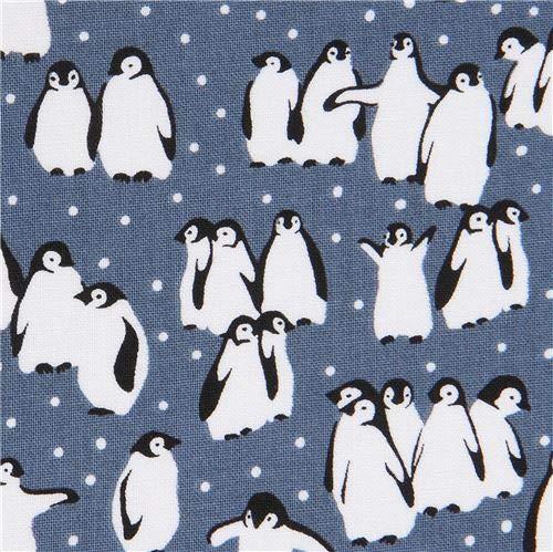 Michael Miller ペンギン柄青みがかったグレーのコットン生地