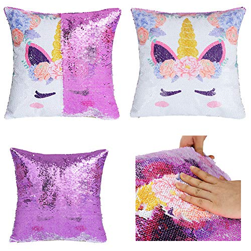 IFOLAINA Unicorn Mermaid Pillow Case Magic Pillowslip Reversible Sequin Pillow Cover Decorative Throw Cushion Case Sewn Zipper Hidden Fun to Play with Family in Living Room, Cars and Bedroom