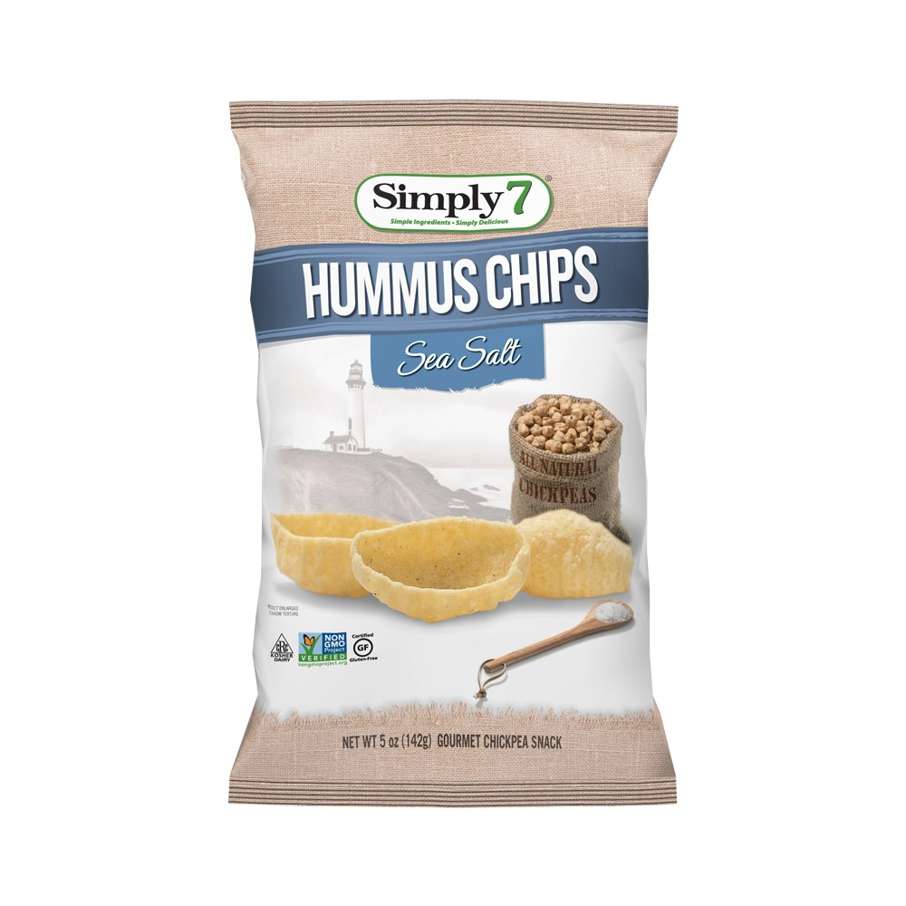 Simply7 Gluten Free Chickpea Hummus Chips, Sea Salt, 5 Ounce (Pack of 12)