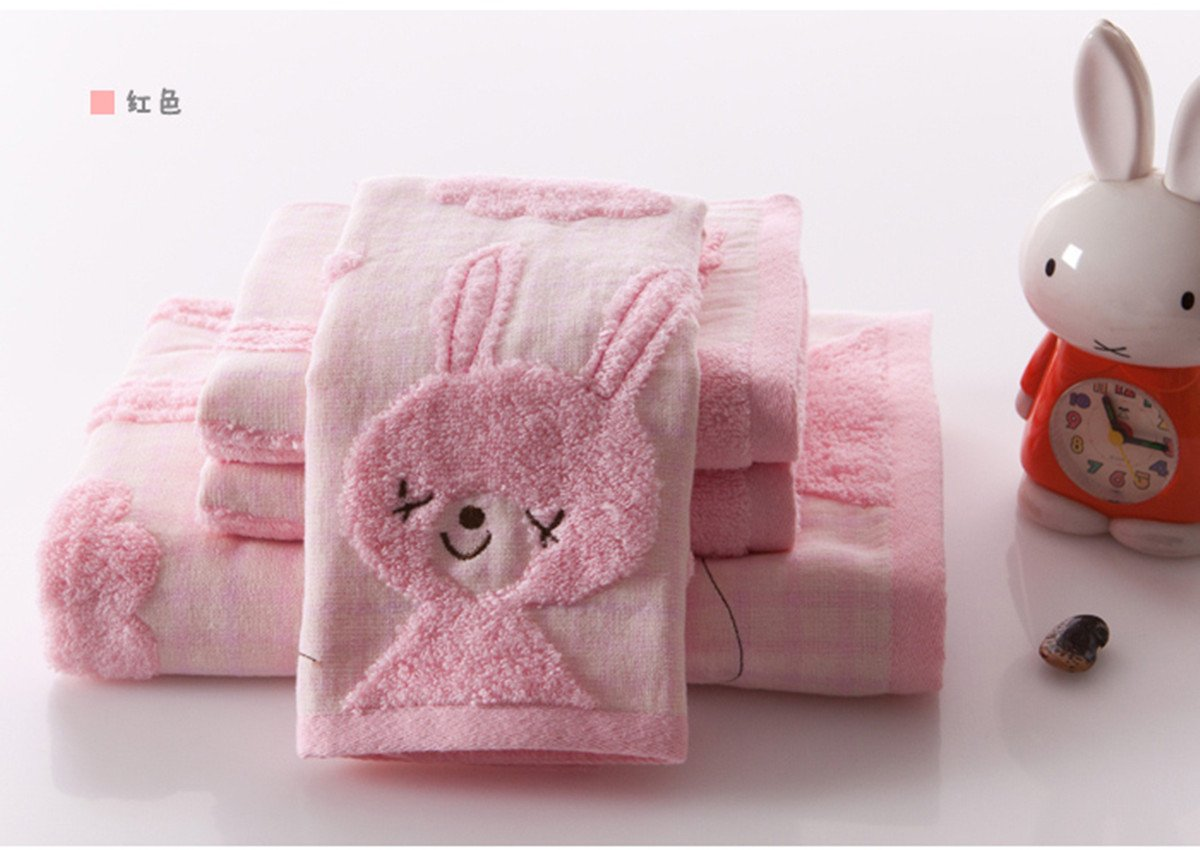 A.H 3Pcs/Set Lovely Cartoon Rabbit Animals Pattern Baby Kid Bathroom Hand Face Towels 35cm×35cm Square Cloth Blue/Yellow/Pink 100% Cotton Soft Touch X1572 (Pink)