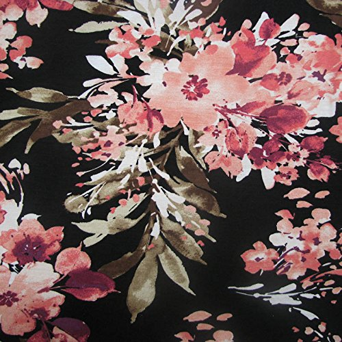 Black Peach Flowers Printed on Rayon Spandex Jersey Knit Fabric