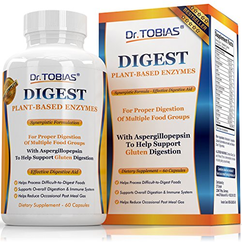 Dr. Tobias Super Digestive Enzymes - Plant-Based, Non-GMO Supplement For Better Digestion - With Lactase, Amylase, Lipase, Bromelain, Papain, Protease 1, 2 and More - One of the Most Complete Formulas