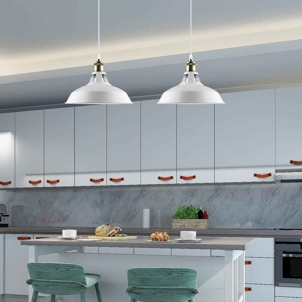 B2ocled White Pendant Lighting Retro Industrial Mini Metal Ceiling ...