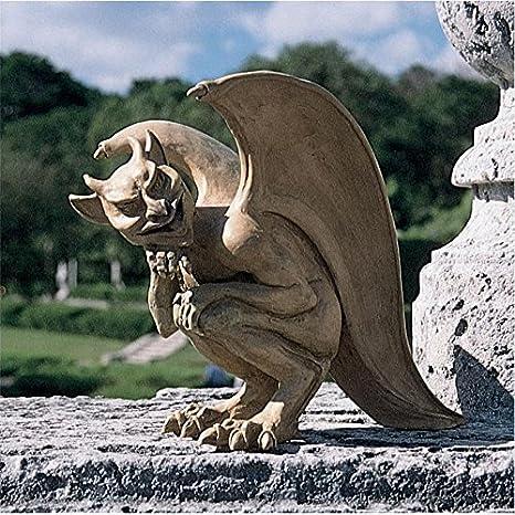 Design Toscano Legend Of Cambridge Hopping Gargoyle Gothic Decor Statue, 21  Inch, Polyresin,