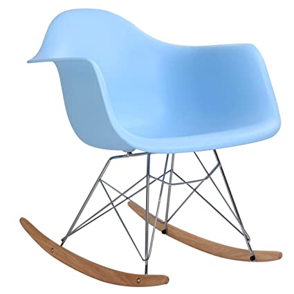 Classic Rocking Chair Rocker Shell Arm Chair Mid Century Molded Armchair  Heavy Duty Plastic Light Blue