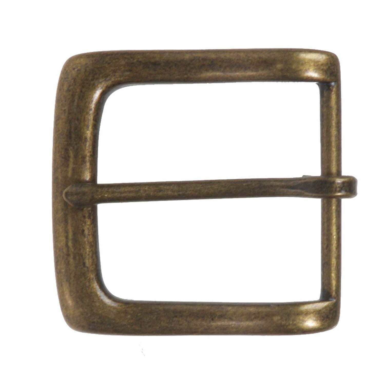 MONIQUE Men Zinc Alloy Single Prong Antique Brass Finish Square 40mm Belt Buckle