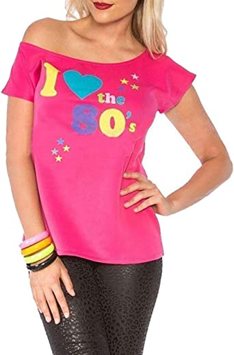 Mujer I LOVE THE AÑOS 80 Camiseta disfraz mujer Pop Star Top ...