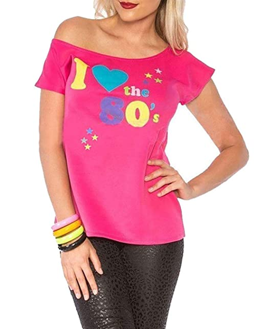 38a5677c52595 Deluxe I Love The 80 s Ladies Pop Star T-Shirt Pink Sexy Retro Top Fancy  Dress Costume small  Amazon.co.uk  Clothing