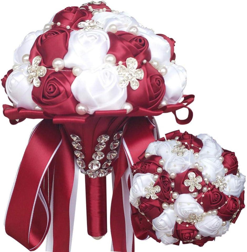 xiangqian-sph White Wedding Bouquet Rose Handmade Poz Pearl Rhinestone Bride Holding Bouquet Wedding Shot Bride Bouquet WeddingBride holding flowers bride artificial flowers@Dark red white