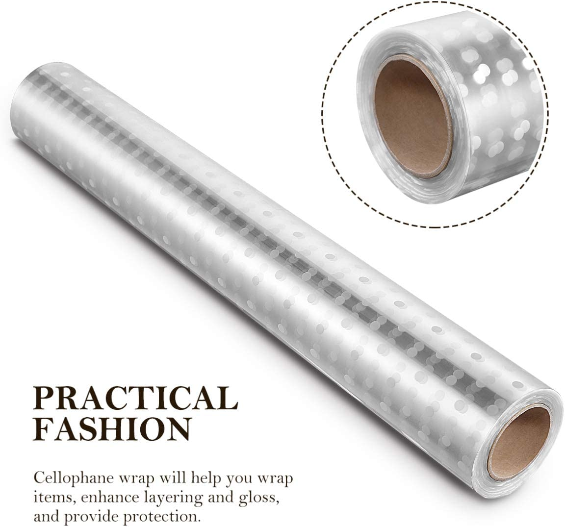 2.5 Mil Thickness Gift Wrap Cellophane Roll Cello Rolls for Gifts Baskets Flowers Arts Crafts NUOBESTY Clear Cellophane Wrap Roll