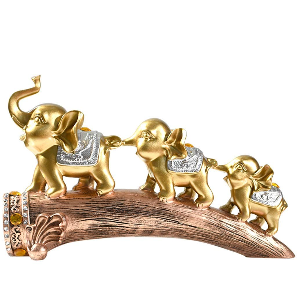 Mmugfdfhf Creative European Elephant Ornaments Crafts Living Room Wine Cabinet Porch Bedroom Home Decoration Crafts Office Decorations (Color: Gold) (Color : Gold, Size : -)