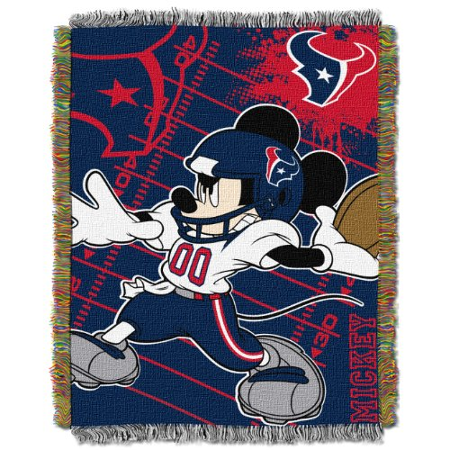 The Northwest Company Officially Licensed NFL Houston Texans Co-Branded Disney's Mickey Woven Tapestry Throw Blanket, 48
