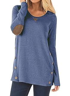 NICIAS Mujeres Botones en Ambos Lados Manga Larga Casual Cuello Redondo Parche en el Codo Camisa