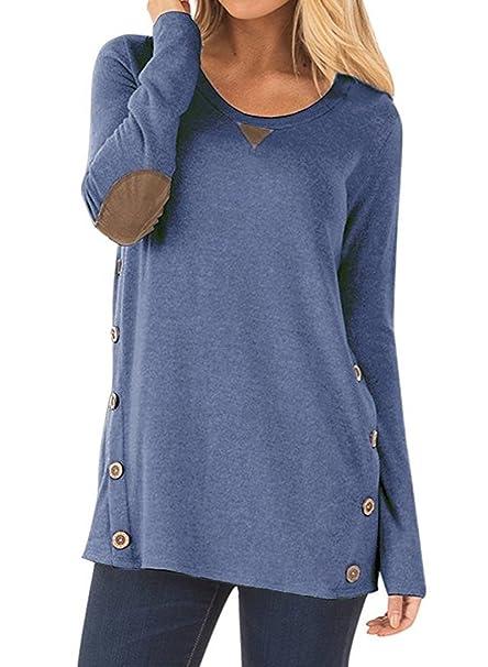 NICIAS Damen Seitliche Tasten Langarmshirt Pullover Lässige Rundhals Sweatshirt Ellenbogen Gepatcht Hemd Lose T Shirt Blusen