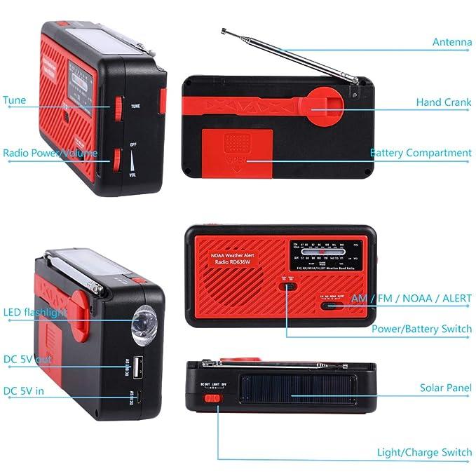 Amazon.com: Radio de emergencia con energía solar y manivela ...
