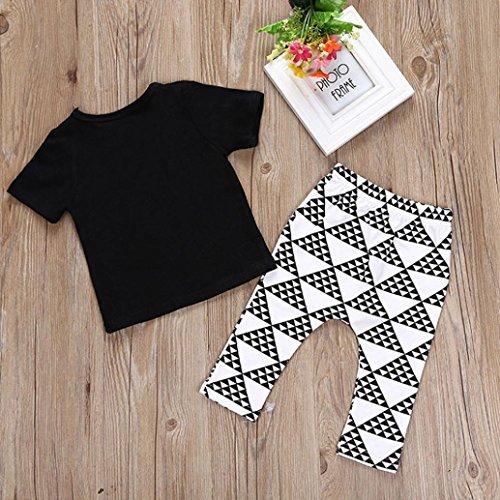 Saingace Bébé Garçon Lettre T-shirt Tops Géométrique Un pantalon Ensemble (Label Size:70(0-6mois))