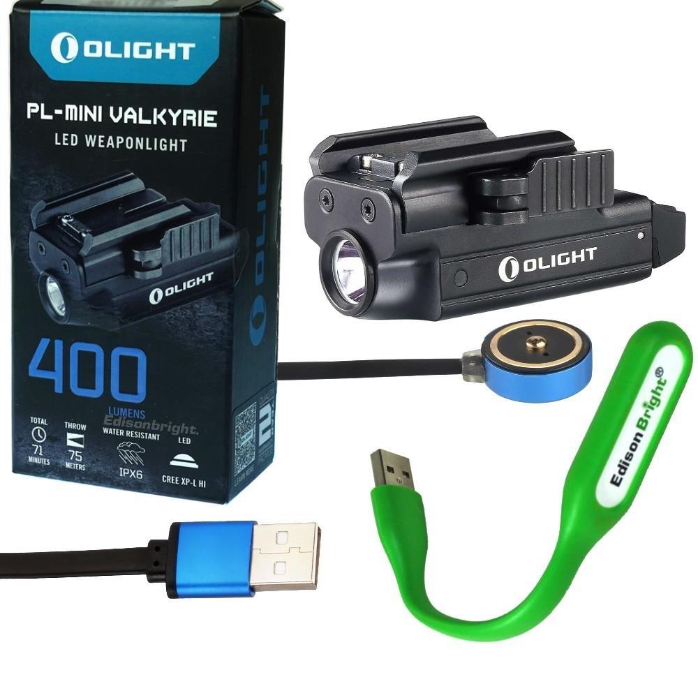EdisonBright Olight PL MINI 400 Lumen Magnetic USB Rechargeable Pistol Light USB powered LED light