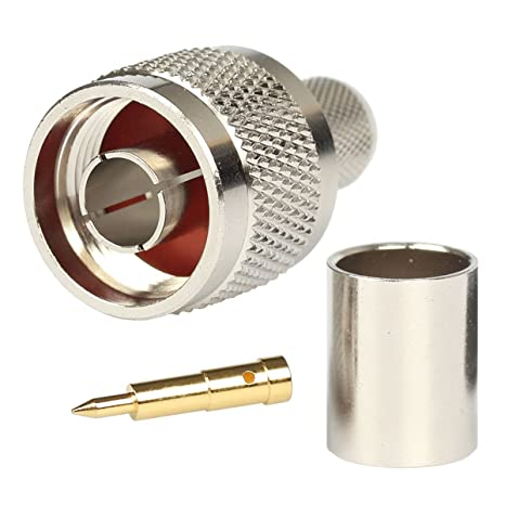Amazon.com: N Plug Crimp Rf Coaxial Connector 50 ohm for LMR400 Belden 9913 RG8 Nickel Machined Brass Construction (10 piece): Home Audio & Theater