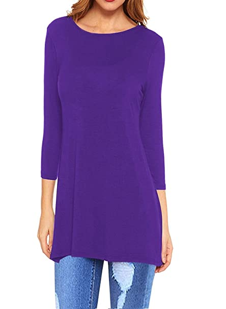 c054a8345fc I2CRAZY Women's Tunics Tops 3/4 Sleeve Flare Loose Fit Blouses with ...