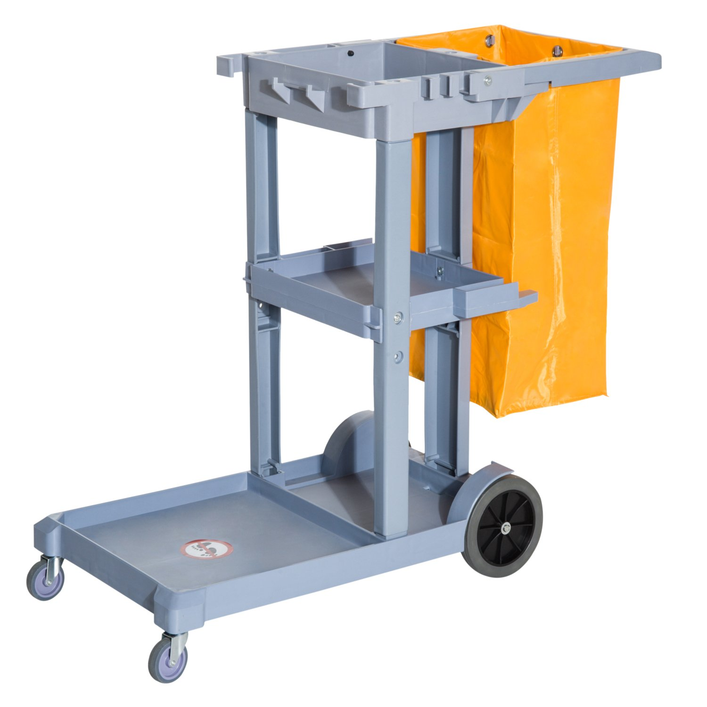 HOMCOM 3 Shelf Housekeeping Janitorial Cleaning Cart w/ 25 Gallon Vinyl Bag