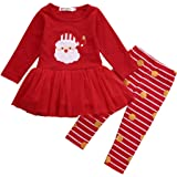 Newborn Kids Baby Girls Christmas Clothes Tutu Dress Skirt Tops+ Stripe Pants Outfit Set