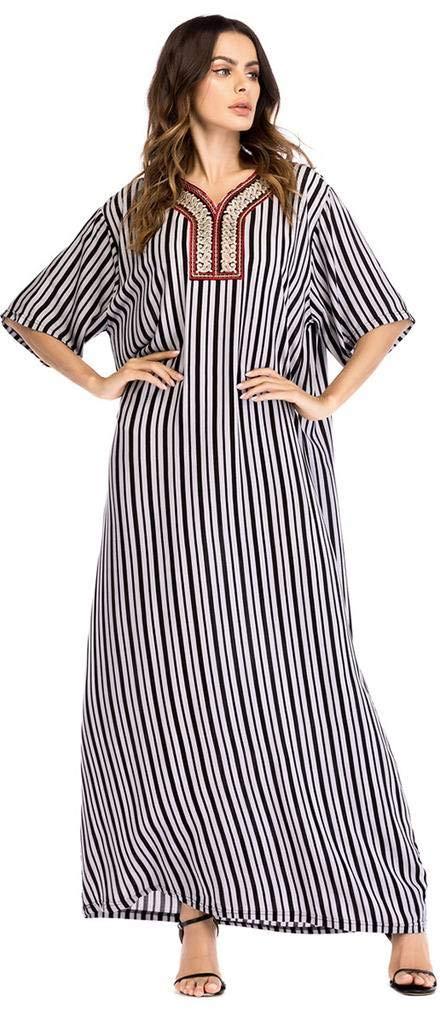 Ababalaya Women's Casual Loose V-Neck Embroidery Stripes Short Sleeve Long Maxi Muslim Dress,1028Schwarz,Tag L = EU-Größe 8-10