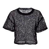 Merecho Women's Sexy Sheer Short Sleeve See Through Mesh T-Shirt Crop Top