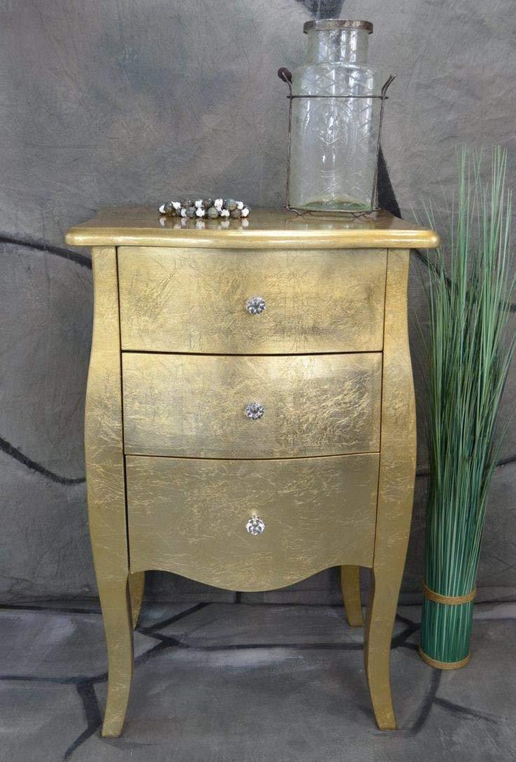 Livitat® Kommode mit 3 Schubladen H76 cm Pomp Gold barock antik pompös Landhaus LV2023