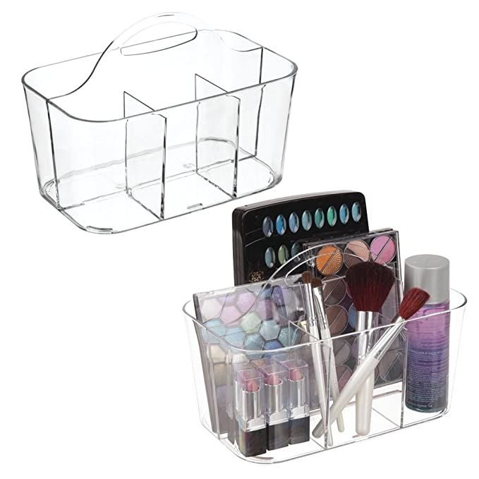 mDesign Plastic Makeup Storage Organizer Caddy Tote - Divided Basket Bin, Handle for Bathroom - Holds Eyeshadow Palettes, Nail Polish, Makeup Brushes, Blush, Shower Essentials - Small, 2 Pack - Clear