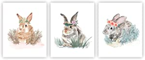 Bunny Decor Bunny Prints Bunny Posters Bunny Wall Art Bunny Wall Decor Woodland Baby Animals Floral Crown Nursery Decor Bunny Rabbit Prints Nursery Wall Décor Unframed