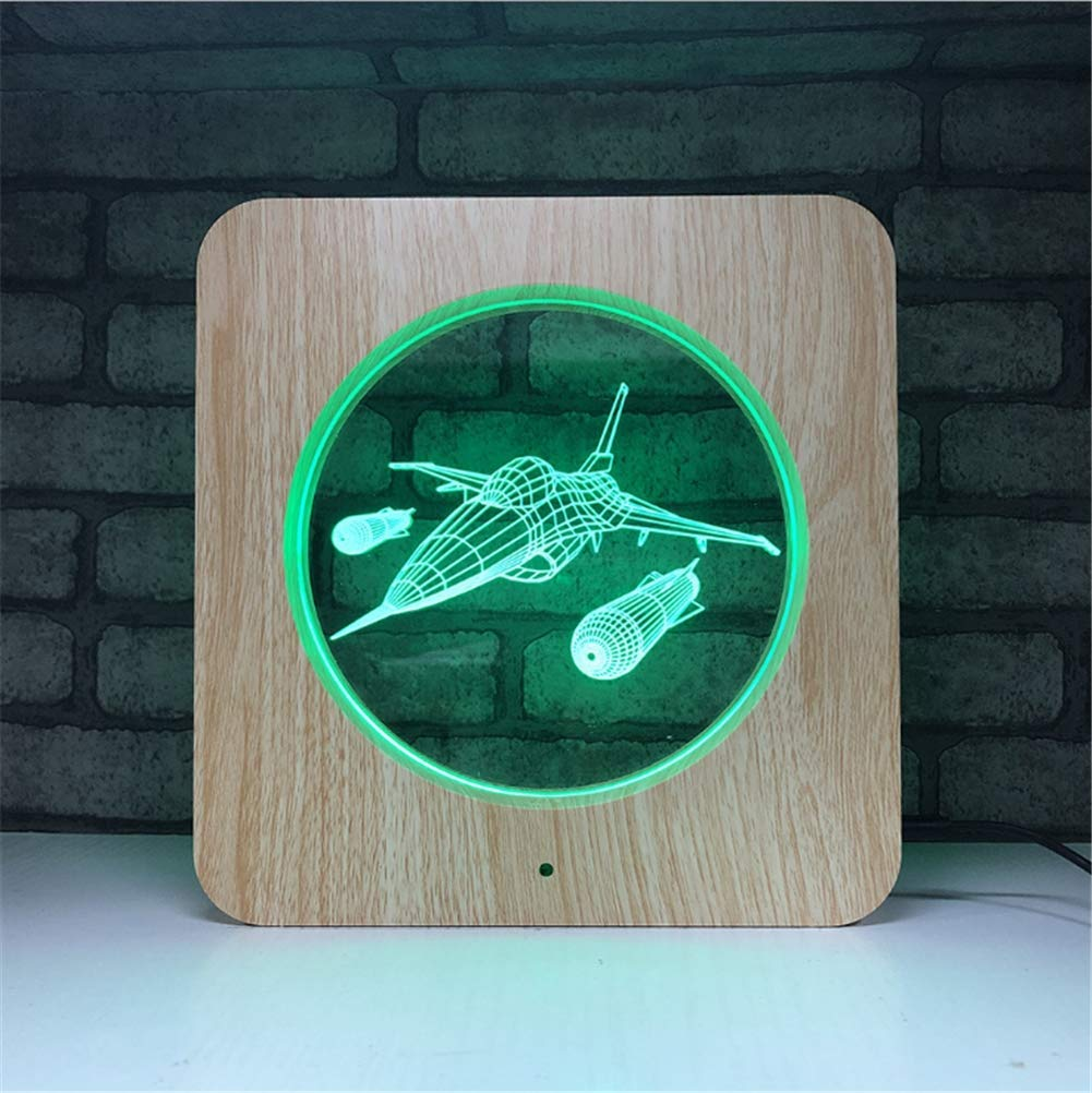 3D Lamp 7 Colour Optical Illusion Acrylic Wooden Square Frame LED Night Light with Timed Off Remote Control and Touch Swith Desk Table Lighting USB Cable and Battery Powered (Aircraft)