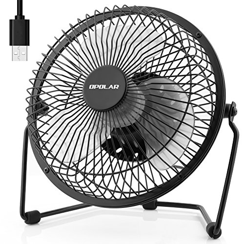 OPOLAR Desk Fan, Quiet Operation Small Personal Fan with Light Cool Breeze, Two Setting, Sturdy Frame Mini Fan Plug in Computer, USB Hub or Electric Outlet, Silent for Office Desk - 6 inch Black by OPOLAR
