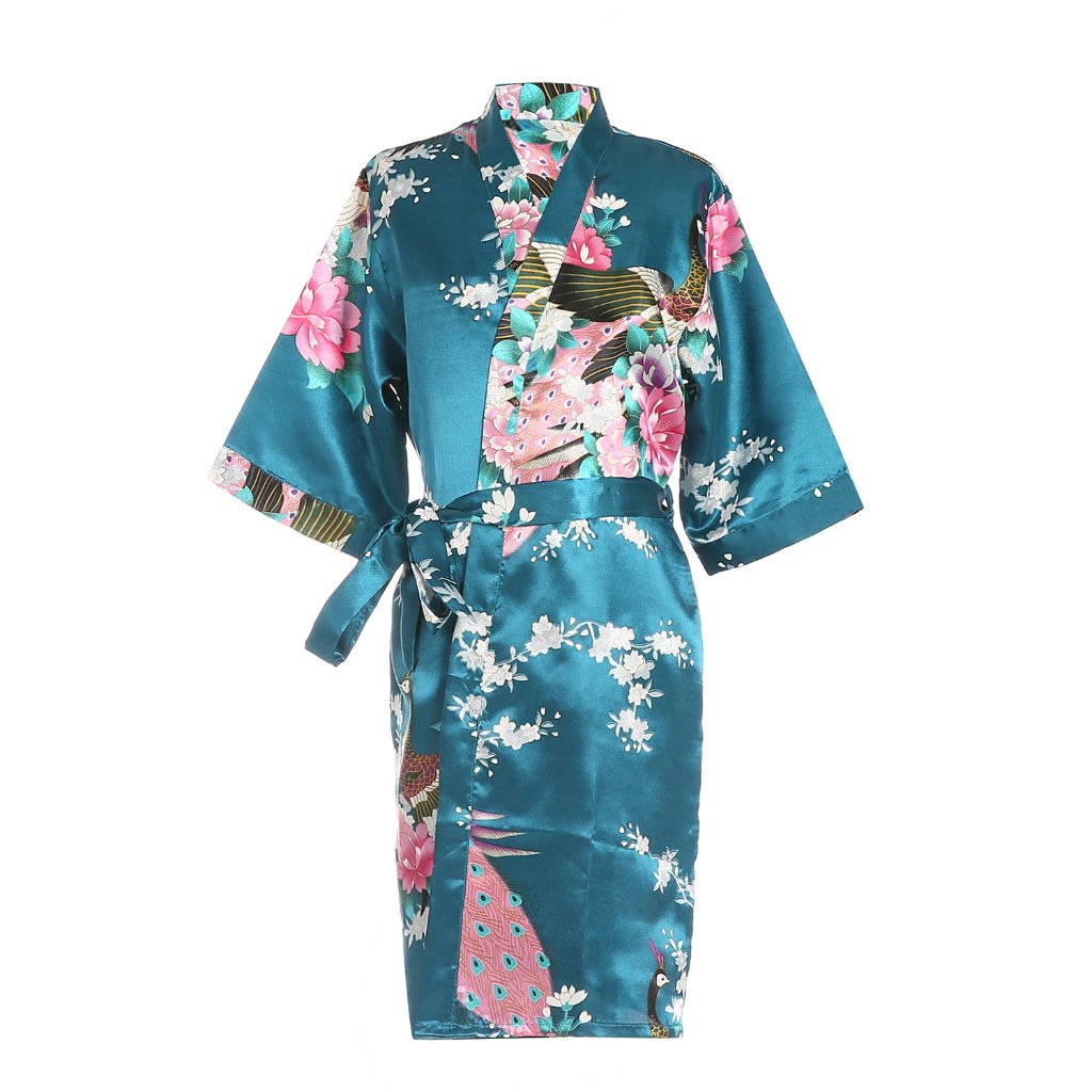 ellenwell Girls Peacock Satin Kimono Robe Fashion Bathrobe Nightgown(8,Teal)