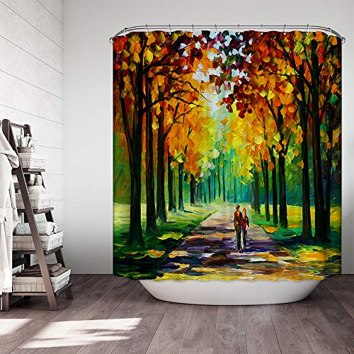 "Ezlif Art Oil Painting Fall Forest Park, Autumn Yellow Leaves Cute Couple 70"" x 70"" Polyester Fabric Waterproof Bathroom Shower Curtains Liner with 12 Rust Proof ()"