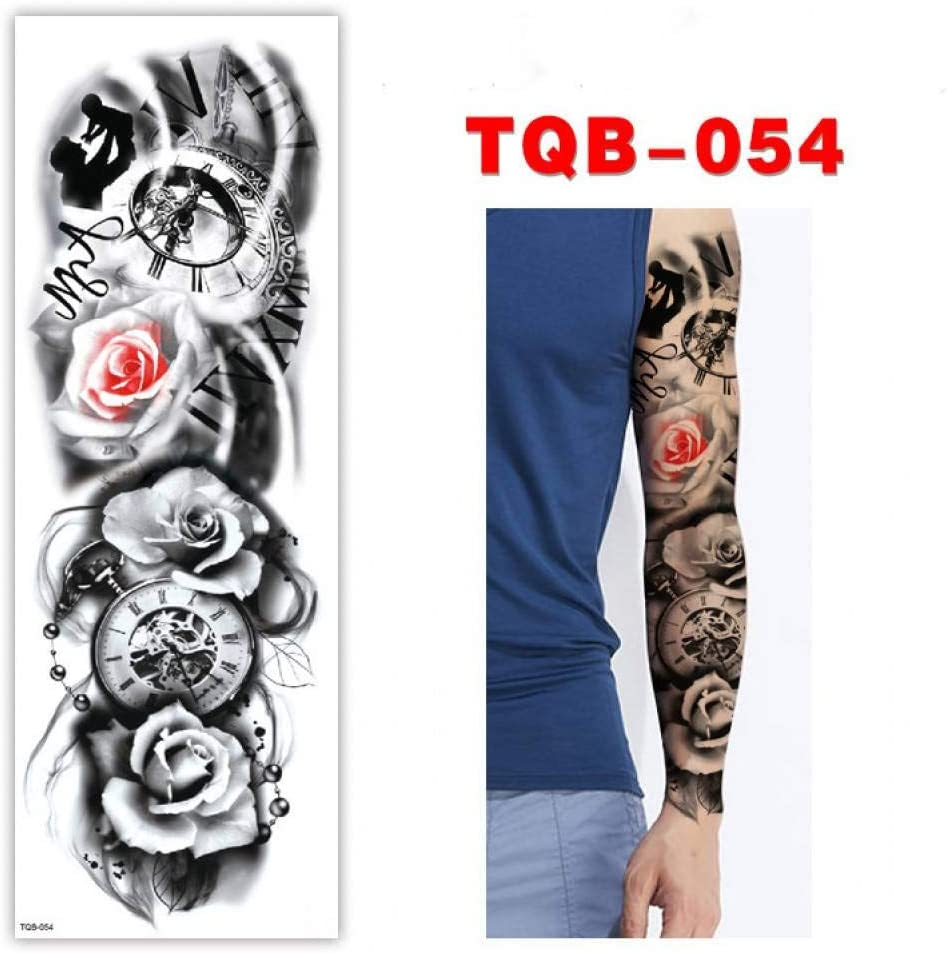 FBXSK Brazo Grande Manga Tatuaje Rosa Esternón Reloj Impermeable ...