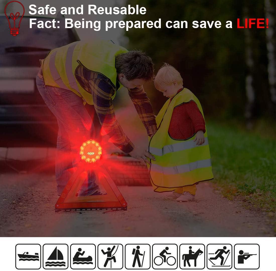 cytop LED Warnleuchte Warnblinkleuchte Rundumleuchte Blitzer Warnlicht Sicherheitsbeleuchtung Warndreieck Licht f/ür Fahrrad Motorrad Auto LKW KFZ Notfall Taschenlampe mit Taschen